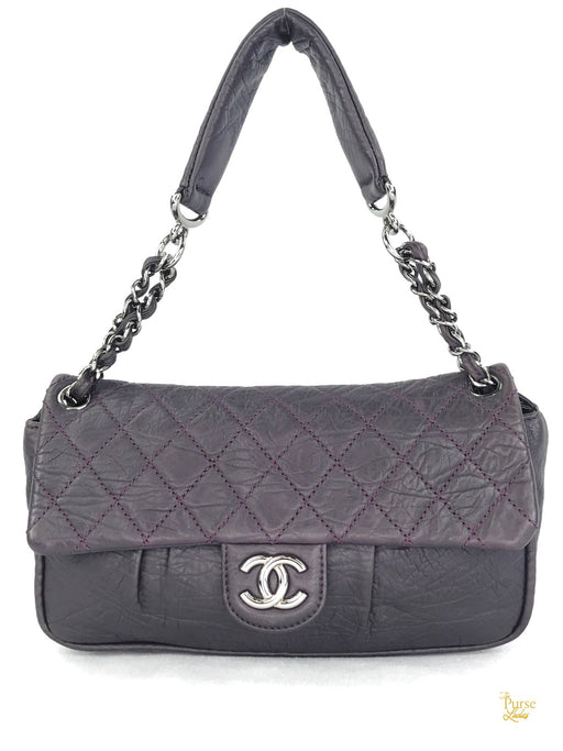 CHANEL Purple Diamond Quilted Cloquee Flap Bag
