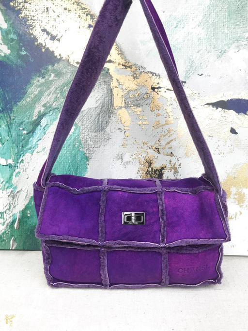 CHANEL Purple Shearling Patchwork Reissue 2.55 Flap Shoulder Bag