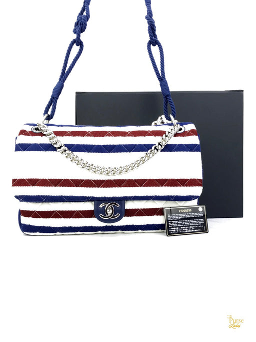 CHANEL Nautical Striped Jersey Jumbo Flap Shoulder Bag
