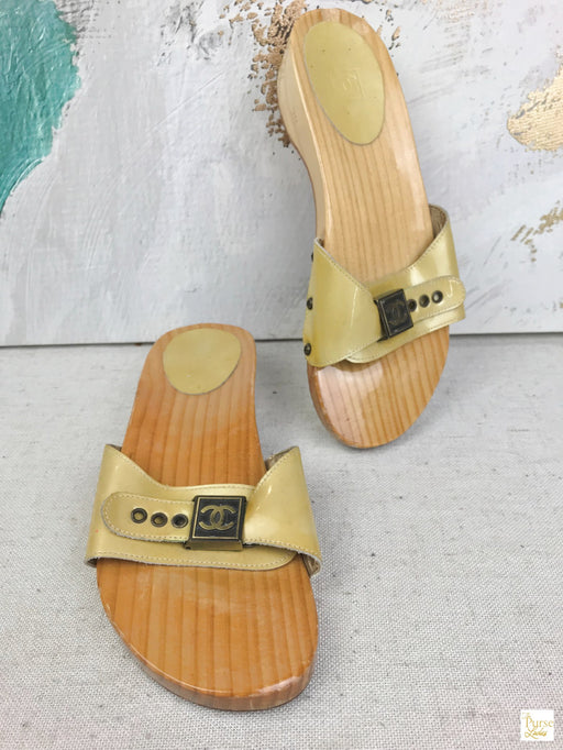 CHANEL Yellow Patent Leather Wood Slides Sandals SZ 38