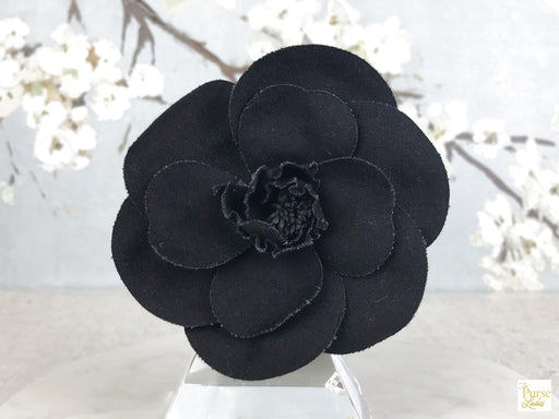 CHANEL Black Canvas Camellia Flower Brooch Pin