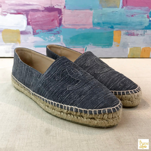 CHANEL Gray Striated Suede Espadrilles SZ 40