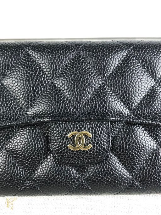 CHANEL Black Caviar Classic Flap Wallet