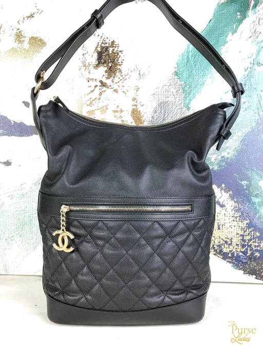 CHANEL Black Caviar Leather Hobo Bag