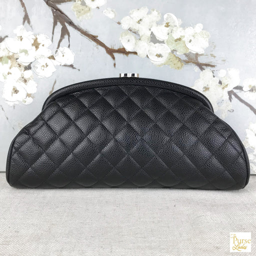 CHANEL Black Caviar Quilted Leather Timeless Clutch