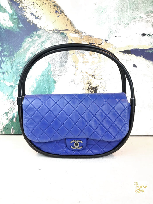 CHANEL Blue Quilted Leather Hula Hoop Shoulder Bag