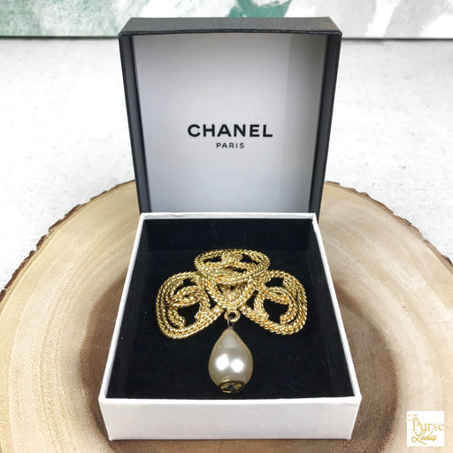 CHANEL Gold Pearl Brooch