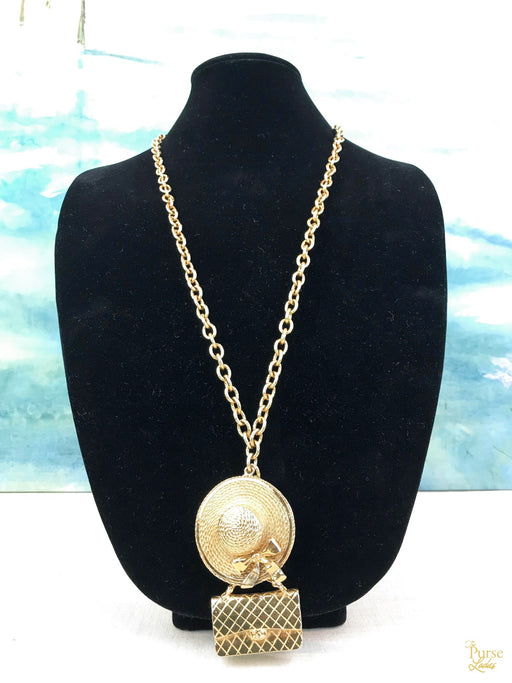 $1300 CHANEL Gold Plated Hat & Handbag Chain Long Necklace SALE!