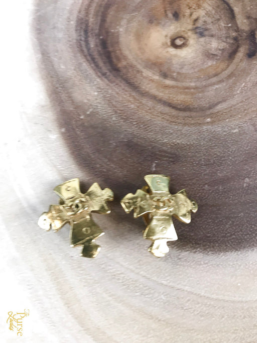 CHANEL Gold Metal Vintage Cross 1994 Clip On Earrings