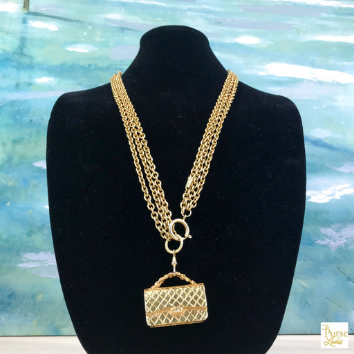 $950 CHANEL 2.55 Flap Handbag Triple Chain Pendant Necklace SALE!