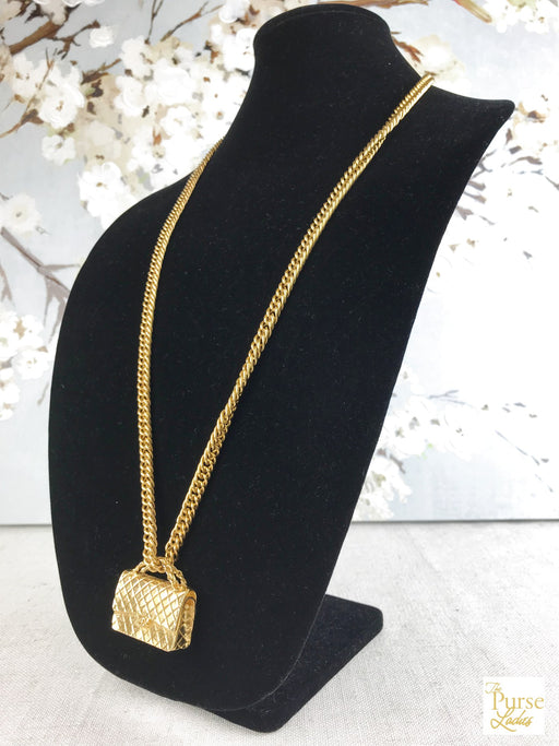 CHANEL Gold 2.55 Flap Handbag Necklace