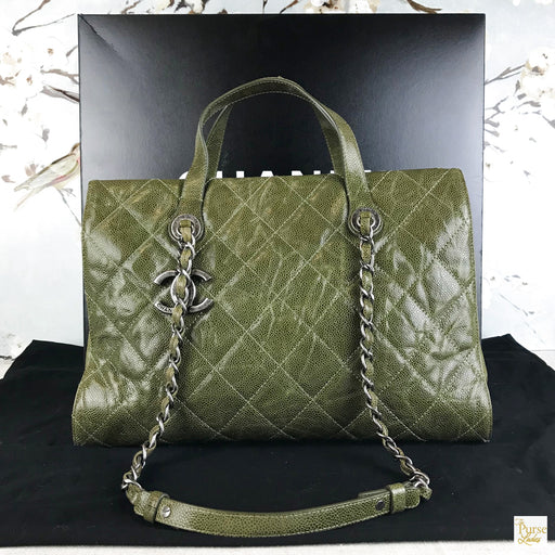 CHANEL Green Quilted Caviar Leather Crave Tote
