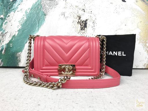 CHANEL Pink Chevron Quilted Small Boy Bag