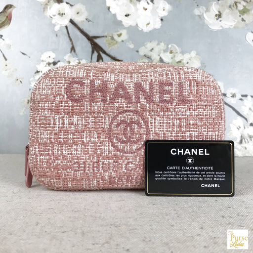 CHANEL Pink Tweed Wool Deauville Zip Cosmetic Case Makeup Bag