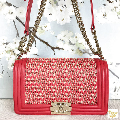 CHANEL Red Leather Straw Boy Bag