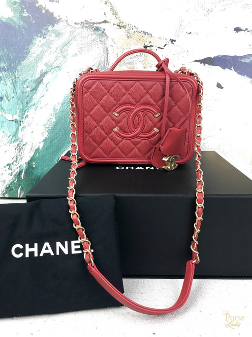 CHANEL Red Caviar Quilted Leather Filigree Vanity