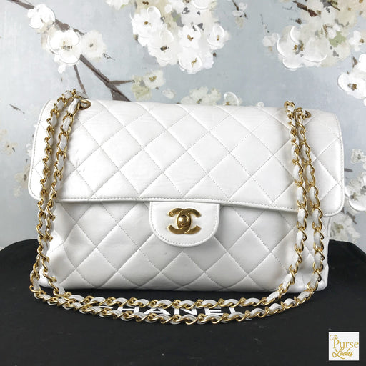 CHANEL White Quilted Leather Double Sided Flap Bag