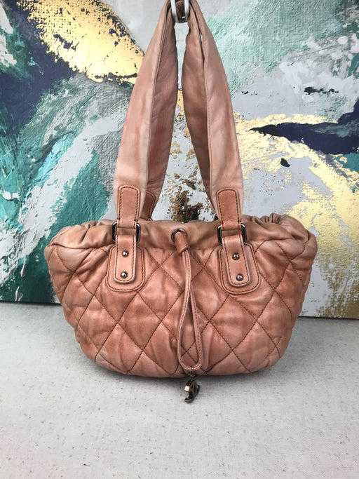 CHANEL Pink Bubble Quilted Drawstring Tote