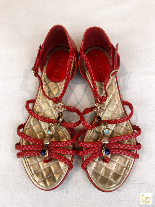 $900 CHANEL Red Braided Patent Leather Beaded Gemstone T-strap Sale Sandals