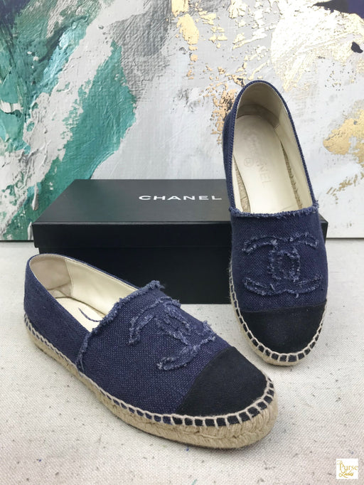 CHANEL Navy Blue Canvas Espadrilles Women's Sz 37 Shoes