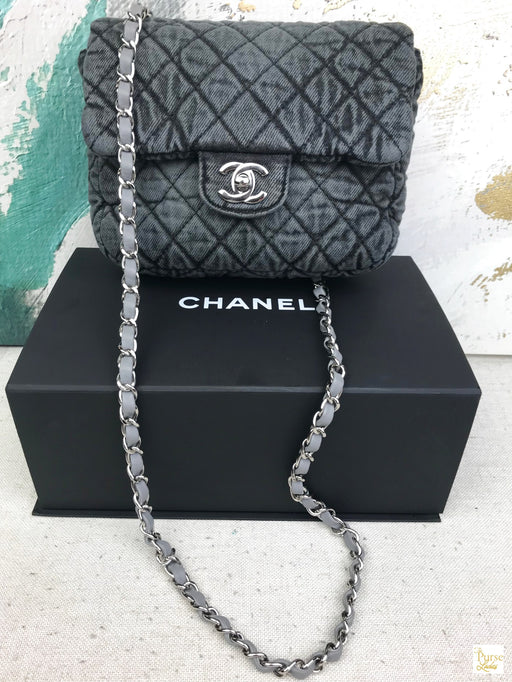 CHANEL Black Quilted Denim Classic Mini Flap Bag