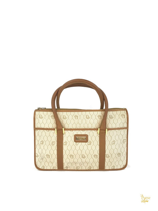 CHRISTIAN DIOR Beige Honeycomb Monogram Satchel