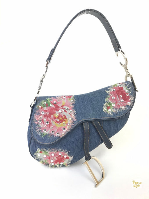 CHRISTIAN DIOR Blue Denim Floral Crystal Saddle Bag