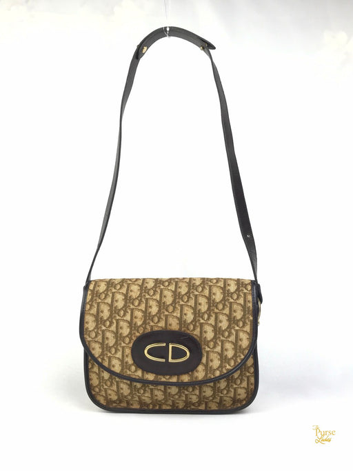 CHRISTIAN DIOR Brown Canvas Trotter Vintage Flap Shoulder Bag