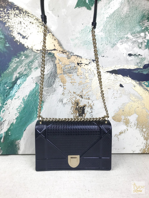 CHRISTIAN DIOR Blue Patent Leather Micro Cannage Diorama Shoulder Bag