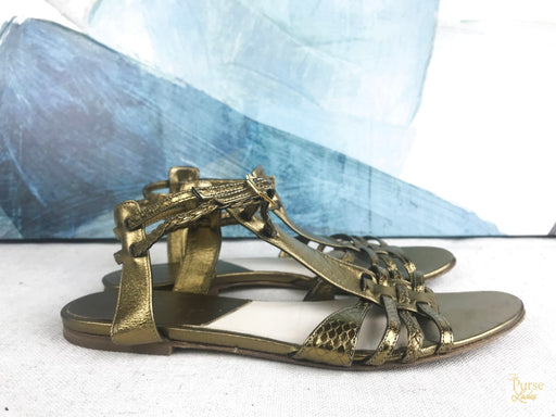 CHRISTIAN DIOR Gold Metallic Leather Caged Sandals SZ 38