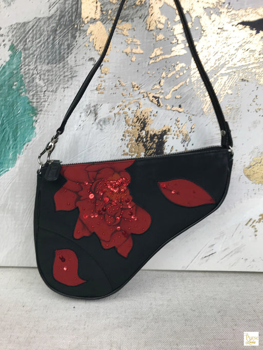CHRISTIAN DIOR Black Nylon Red Floral Embroidered Mini Saddle Bag