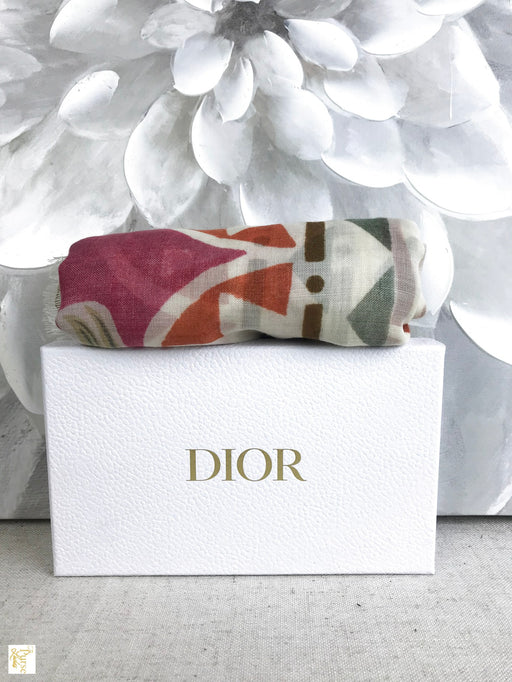CHRISTIAN DIOR Multi-Color Cashmere Silk Floral  Scarf