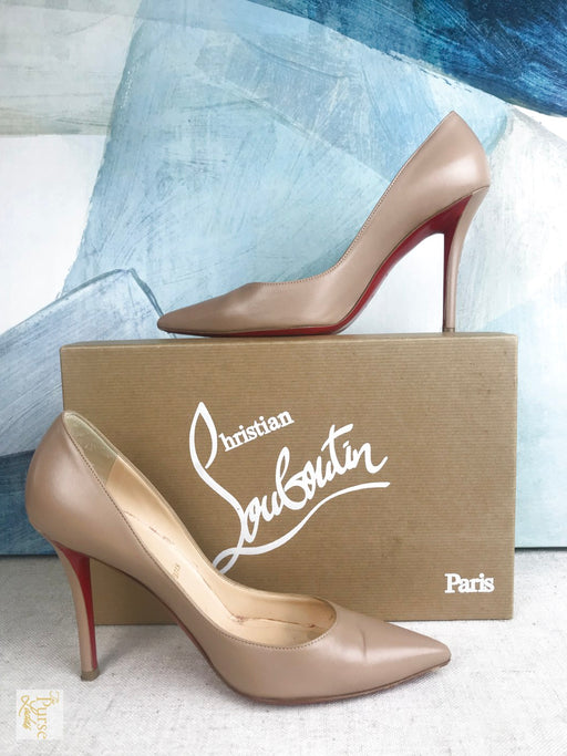 CHRISTIAN LOUBOUTIN Beige Nude Apostrophy Leather Pumps Sz 37 Heels