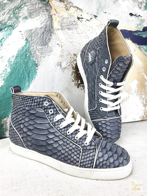 CHRISTIAN LOUBOUTIN Blue Snakeskin Louis High Top Sneakers SZ 43