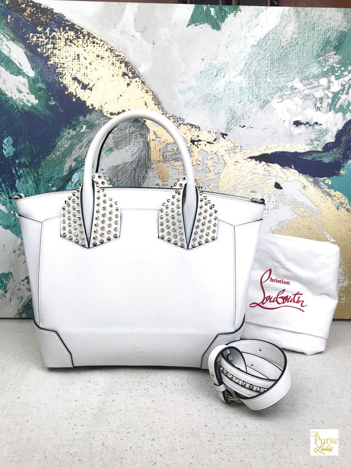 CHRISTIAN LOUBOUTIN White Leather Large Eloise Tote
