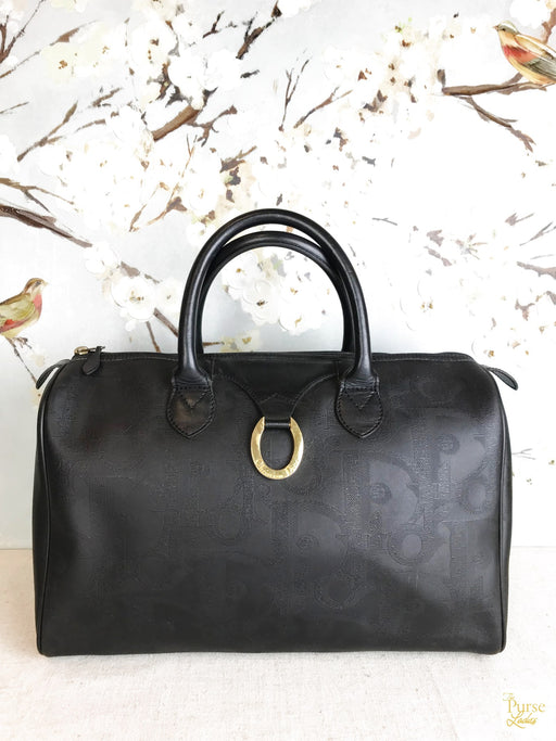CHRISTIAN DIOR Black Monogram Ring Satchel