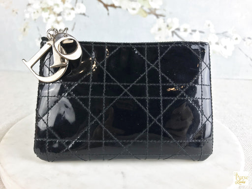 CHRISTIAN DIOR Black Patent Leather Cannage Coin Purse