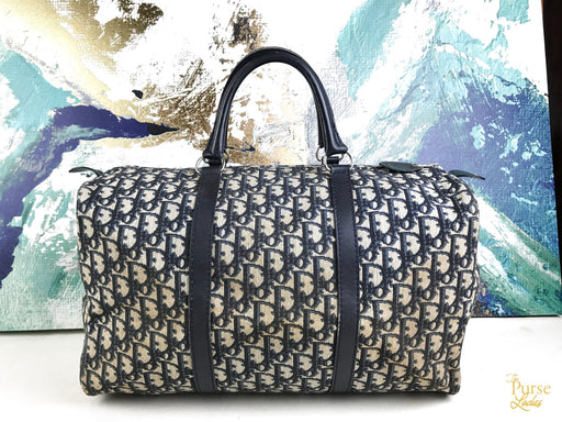 CHRISTIAN DIOR Navy Blue Trotter Canvas Duffle Bag