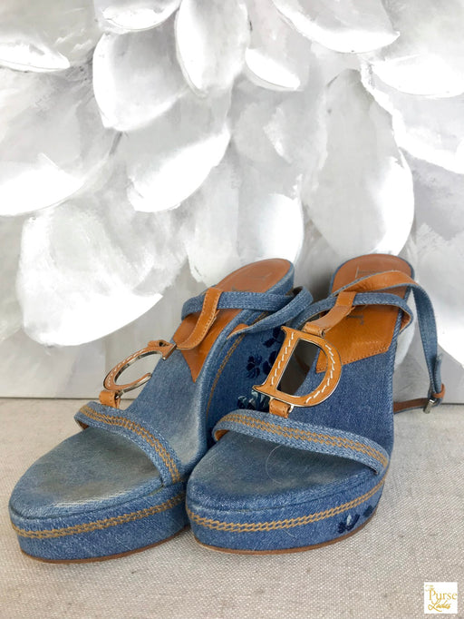 CHRISTIAN DIOR Blue Denim Wedges SZ 37.5