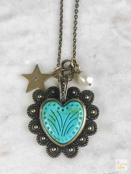 CHRISTIAN DIOR Antique Brass Gold Turquoise Heart Necklace