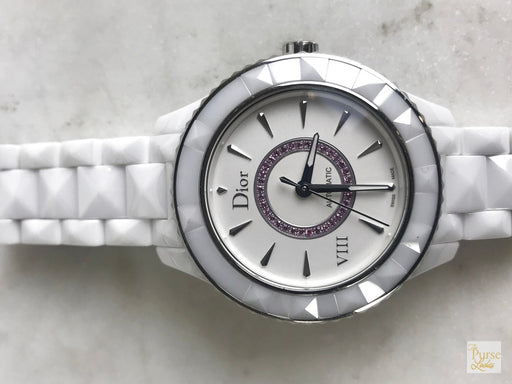 CHRISTIAN DIOR VIII White Ceramic Pink Diamond Watch
