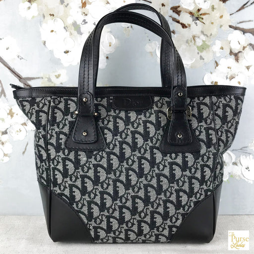 CHRISTIAN DIOR Black Trotter Canvas Tote Bag