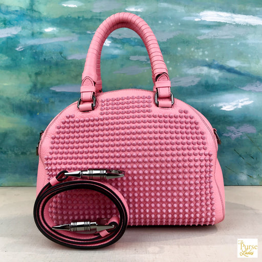 $2195 Christian Louboutin Pink Leather Panettone Spiked Satchel Shoulder Bag SALE!