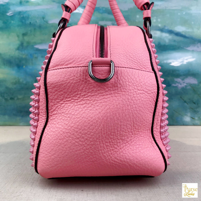8c87fdcce3b $2195 Christian Louboutin Pink Leather Panettone Spiked Satchel Shoulder  Bag SALE!