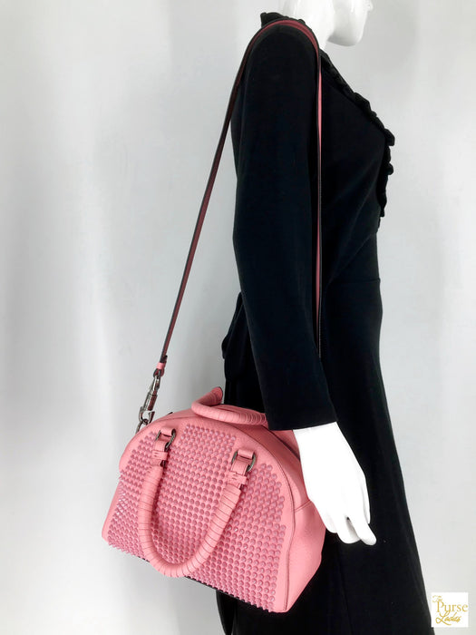 2195 Christian Louboutin Pink Leather Panettone Spiked Satchel Shoulder Bag Sale