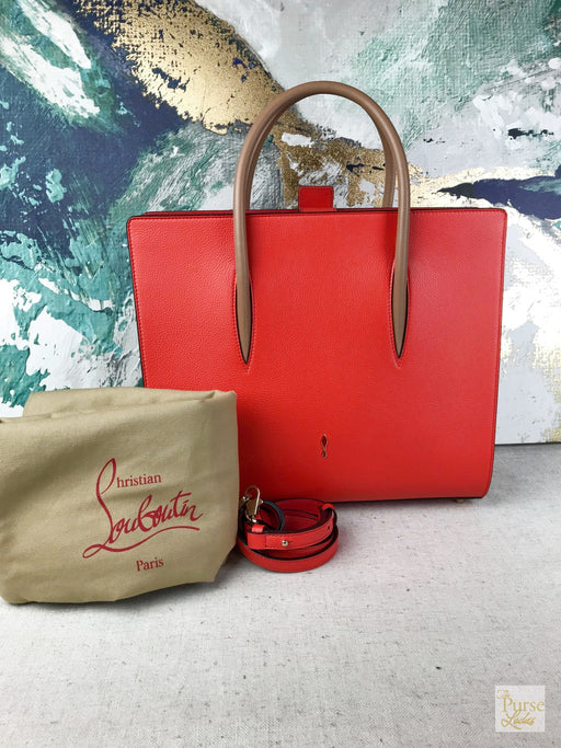 CHRISTIAN LOUBOUTIN Red Leather Paloma Tote Bag