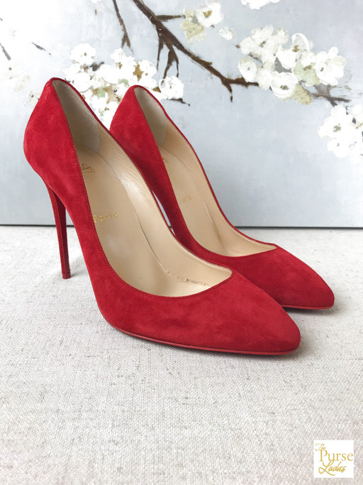 CHRISTIAN LOUBOUTIN Red Velour Eloise Pumps