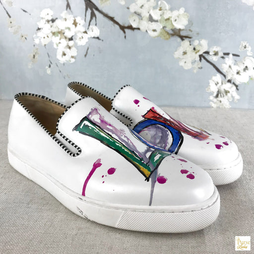 CHRISTIAN LOUBOUTIN White Love Slip-On Sneakers Women's Sz 40