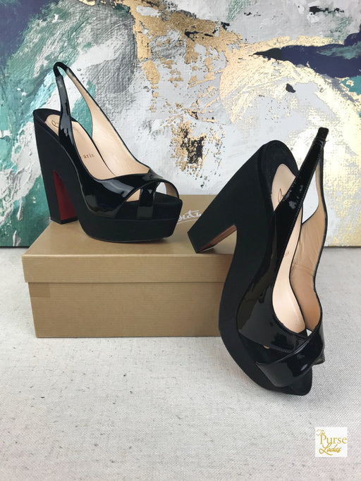 CHRISTIAN LOUBOUTIN Mrs Propre Black Patent Leather Heels Platforms Sz 36.5