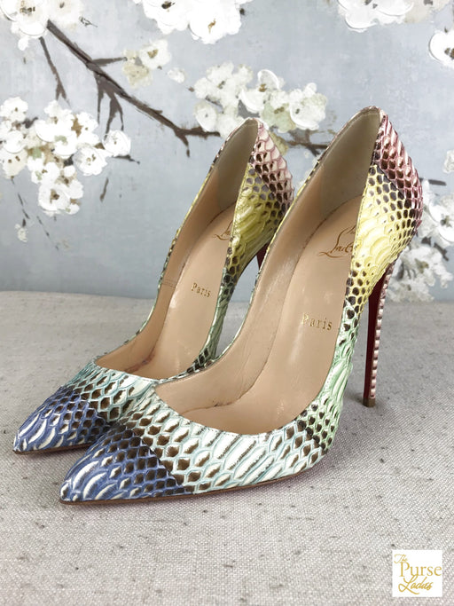 CHRISTIAN LOUBOUTIN Multi-Color Watersnake Pigalle Pumps SZ 37.5